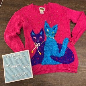 Vintage 1980s Glitz Sequin Cat Sweater Size Large